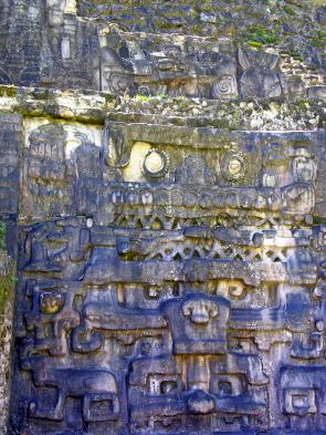 Can you spot the jaguar face on the wall of the temple? (Photo by Dennis Jarvis