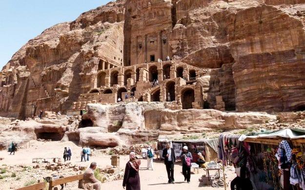 Ancient cliffside buildings in Jordan