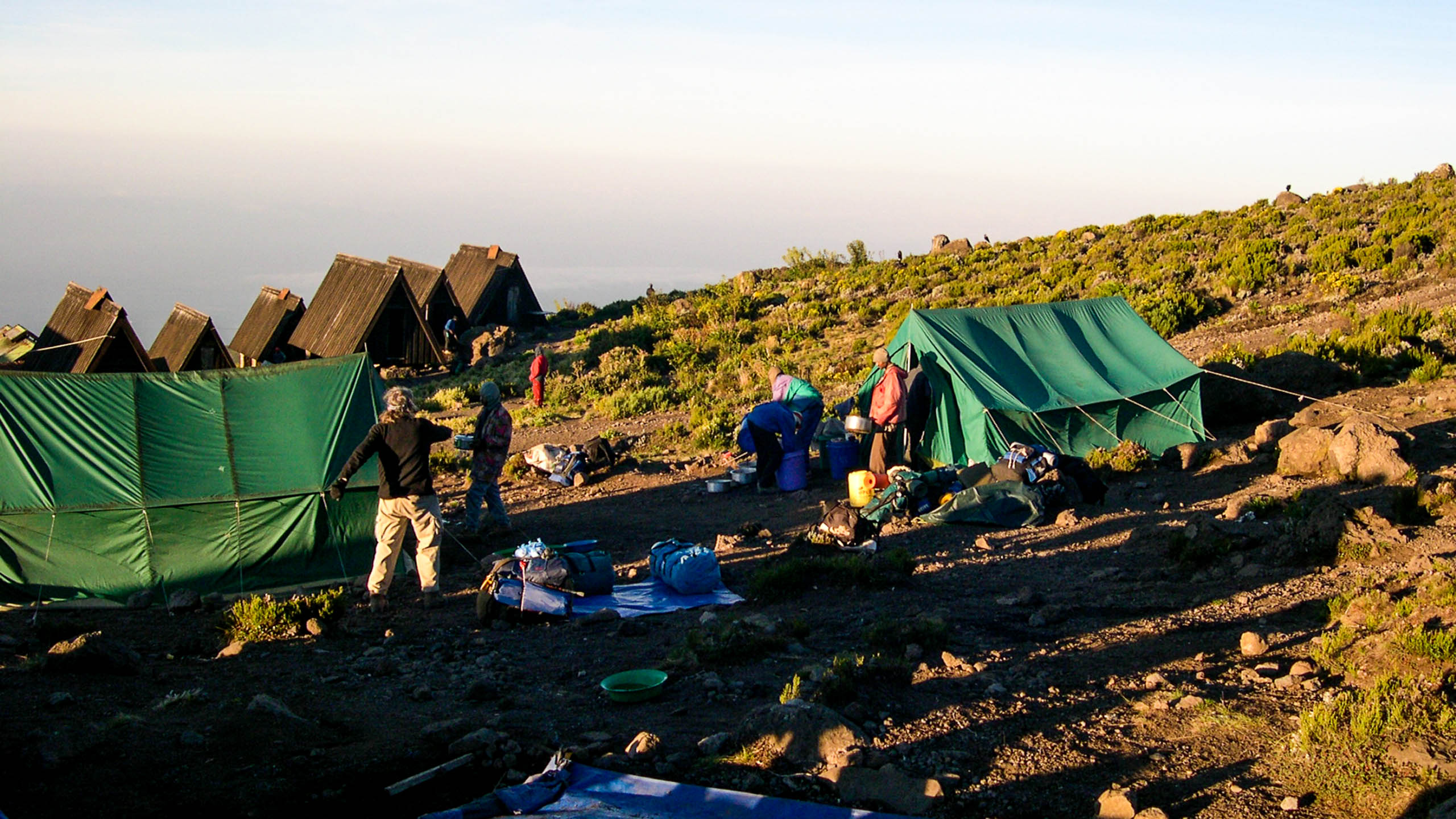 Travelers make camp on Mt Kilimanjaro hike