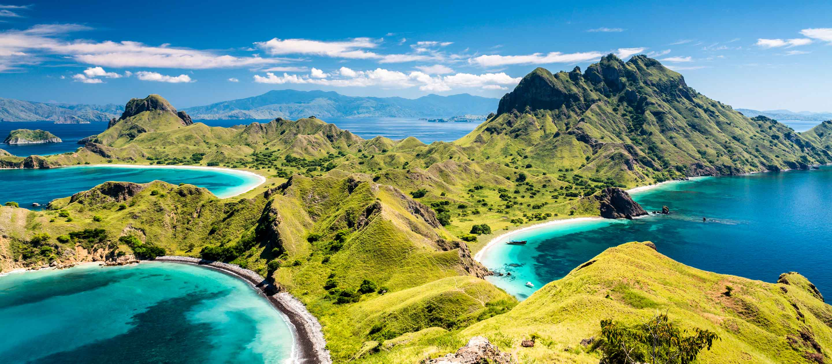 Aerial view of Komodo Island mountains, Indonesia