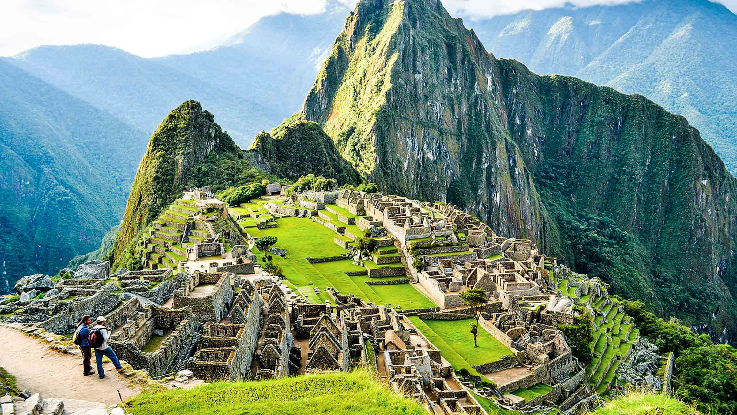 Hikers admire overlook view of Machu Picchu