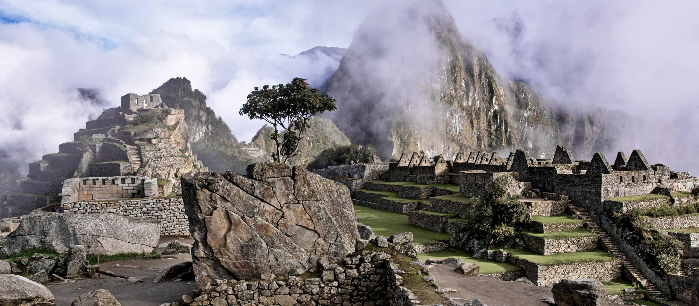 Ruins at the top of Machu Picchu, Peru