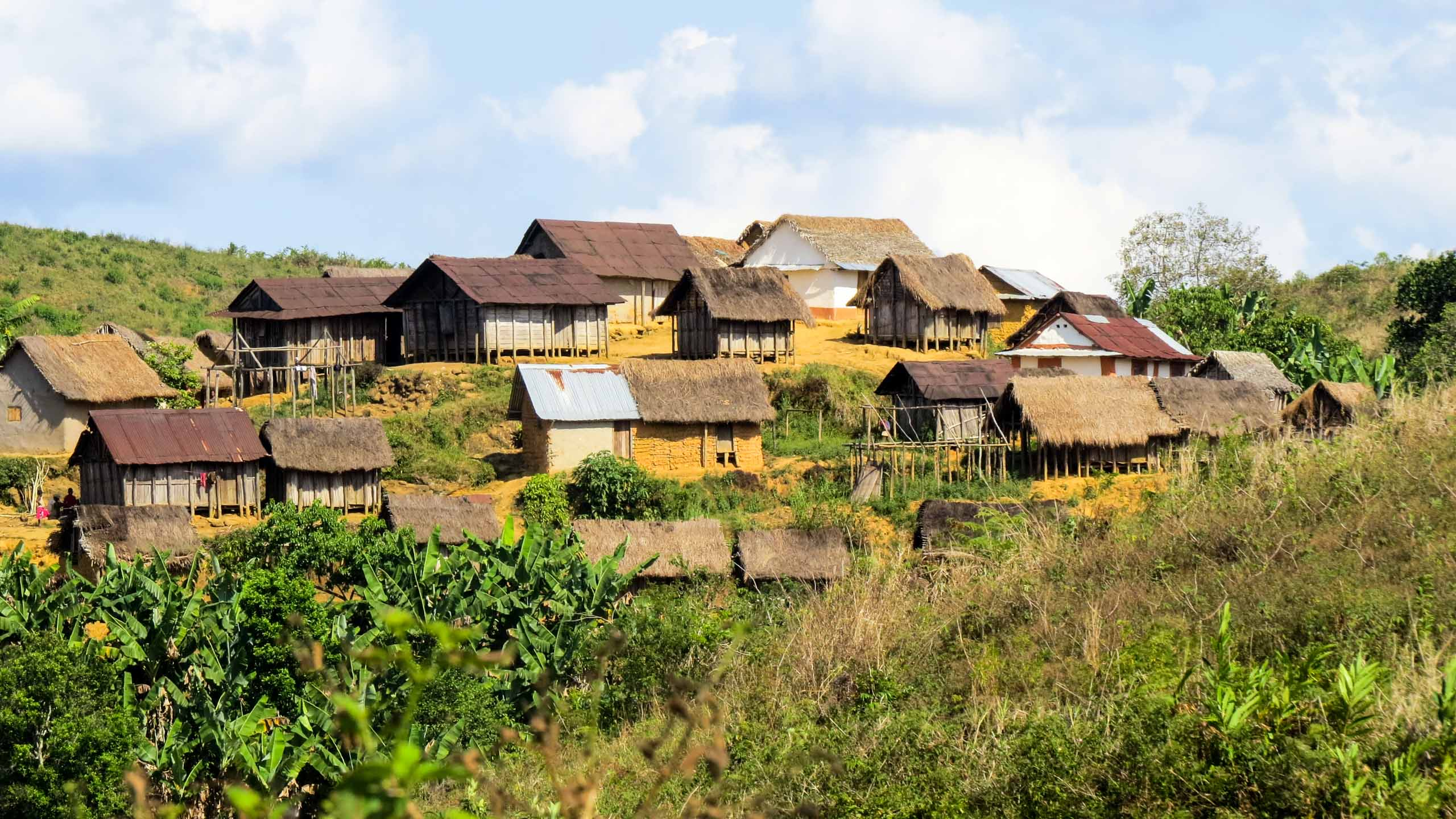 Village on a hill in Madagascar