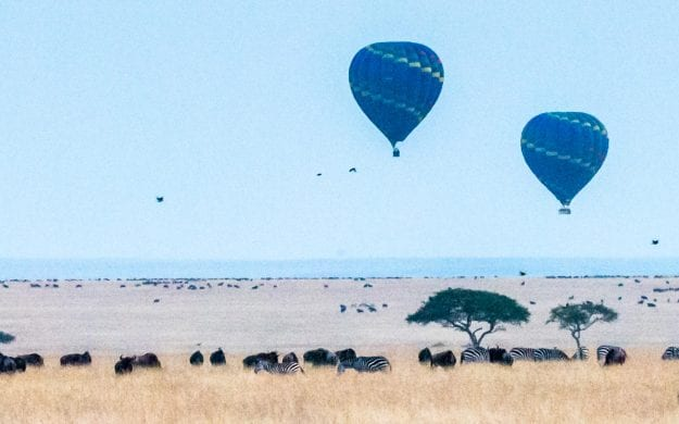 Early morning hot air balloons in Kenya
