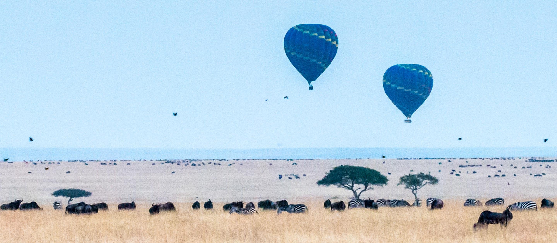 Early morning hot air balloons in Kenya