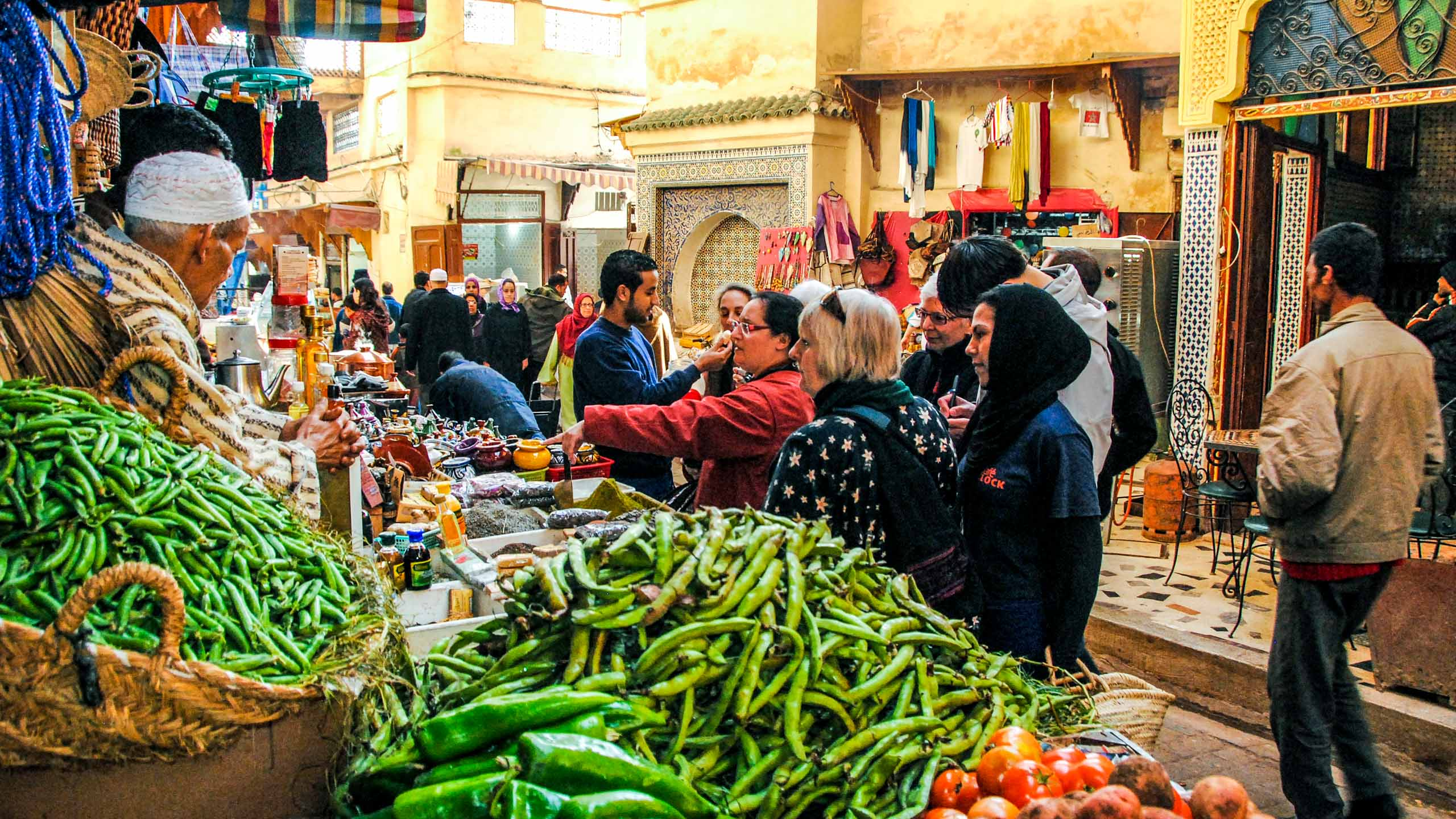 People browsing in Morocco street market