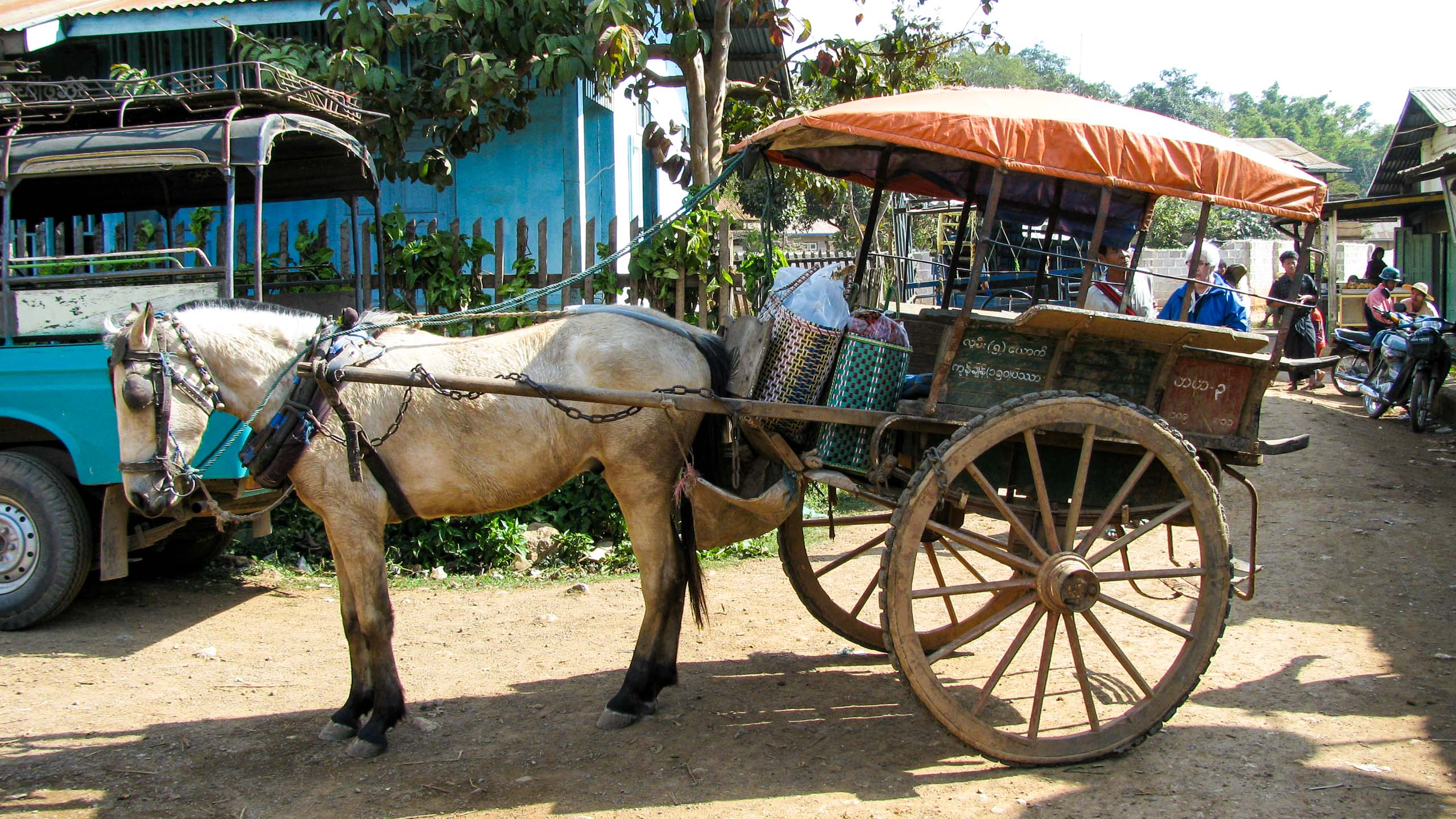 Horse and cart on Myanmar town road
