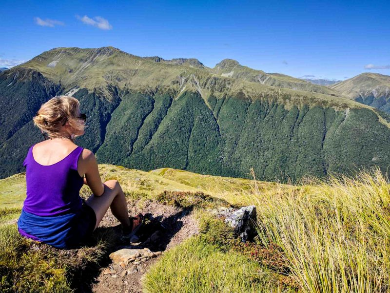 Woman looks over New Zealand landscape