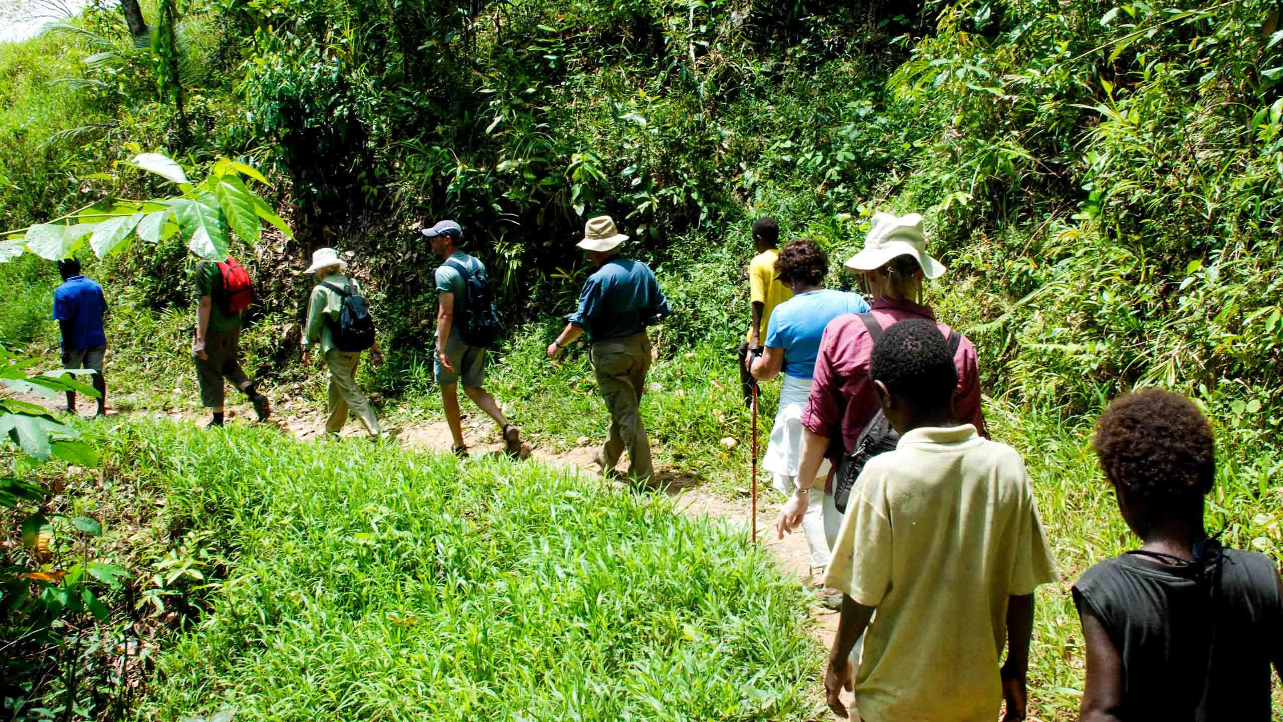 Travelers hike in Papua New Guinea
