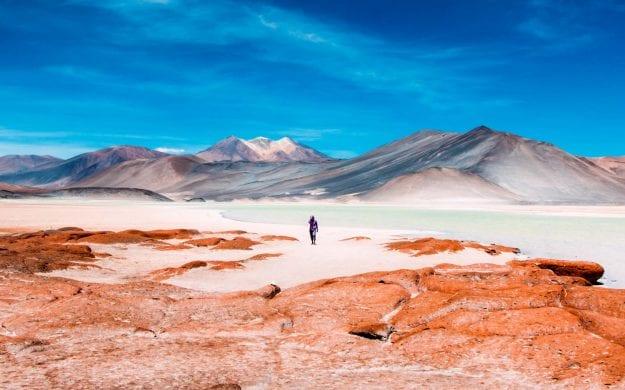 Person walks through Atacama Desert