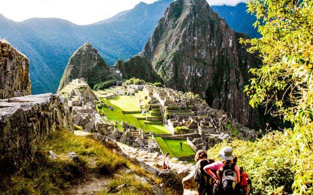 Hikers approach Machu Picchu