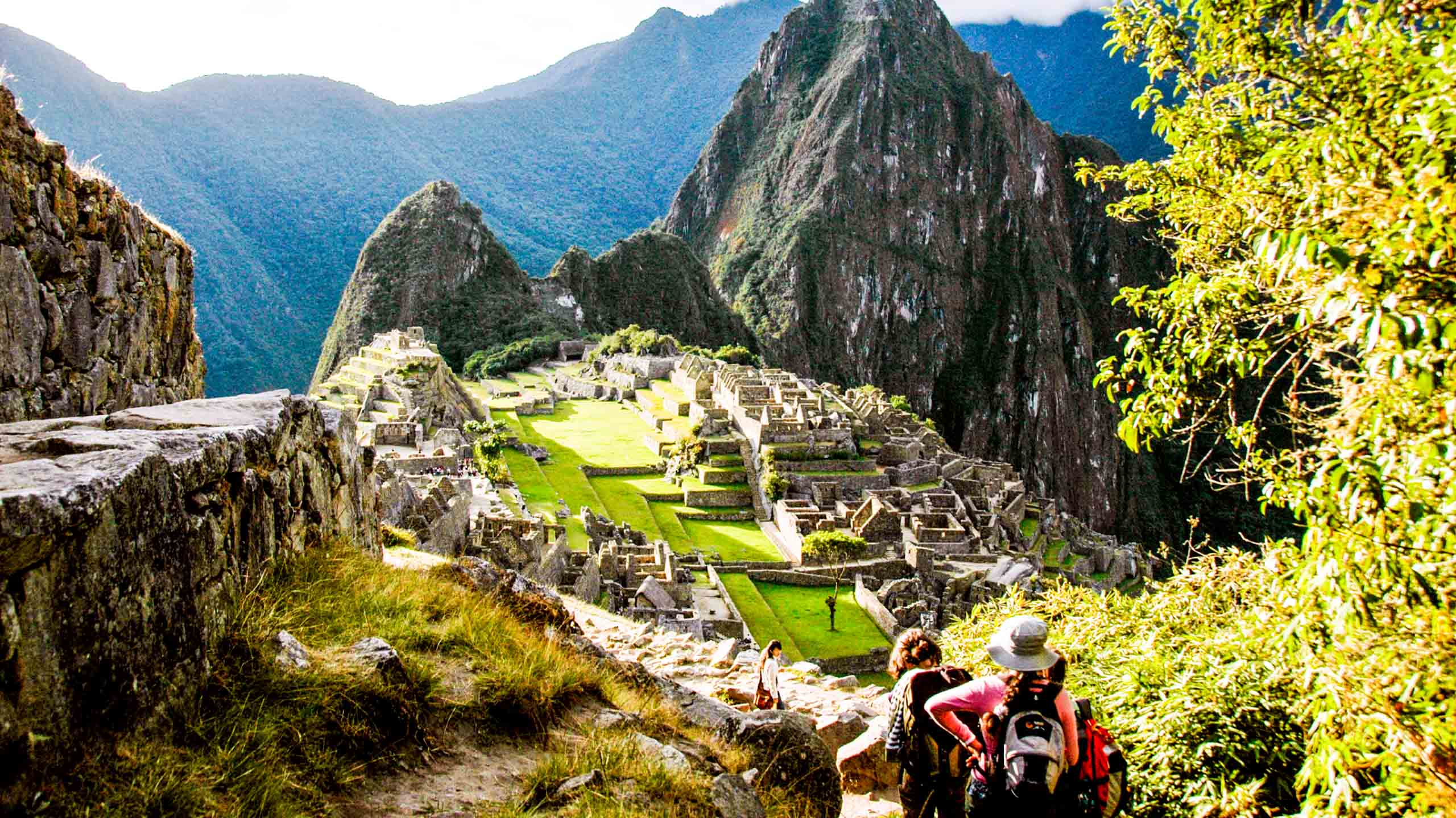 Hikers approach Machu Picchu