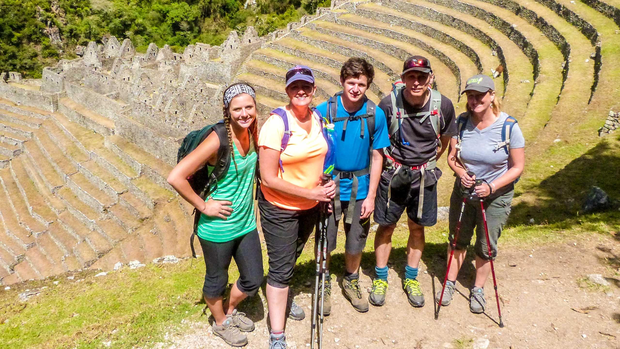 Group of teens pose on Peru hiking trip