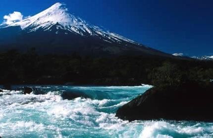 Osorno Volcano towers over the Petrohue River