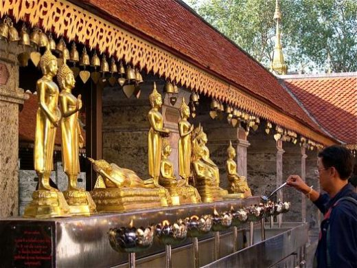 Buddhism in Thailand is vibrant. Visit Doi Suthep Temple in Chaing Mai