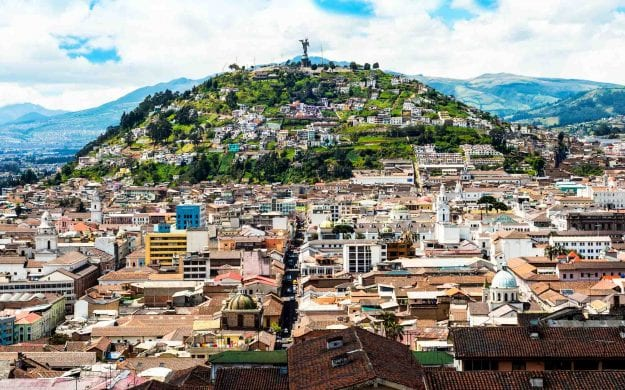 Aerial view of hill in Quito, Ecuador