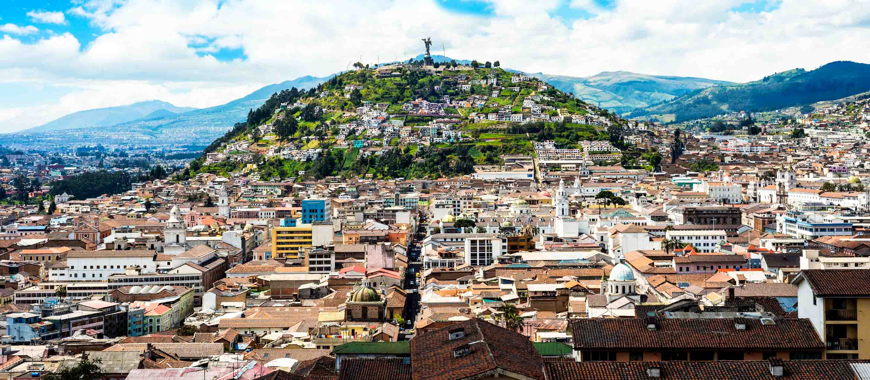 Aerial view of hill in Quito, Ecuador