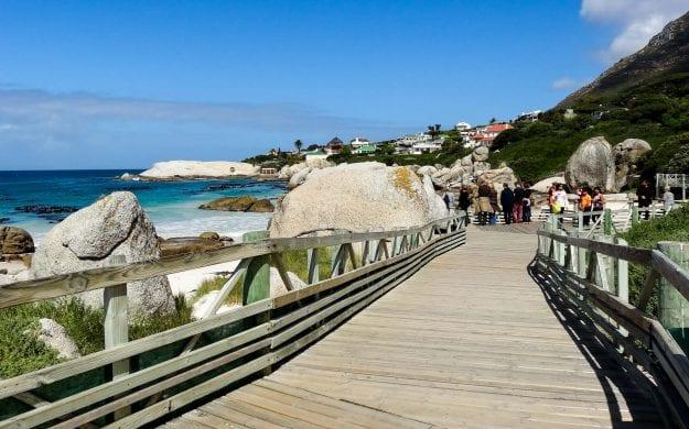 South Africa boardwalk by ocean