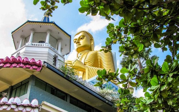 Large golden Buddha statue in Sri Lanka