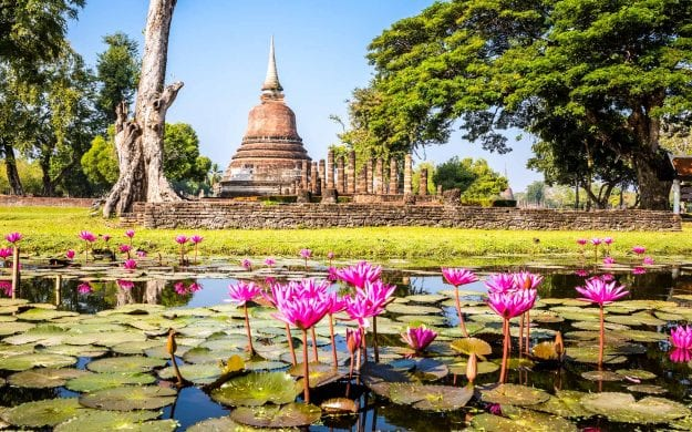 View of Sukhothai across lily pads on pond