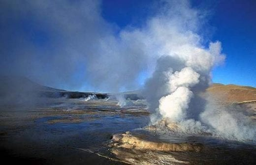 The Geysers of Tatio blast steam high into the air
