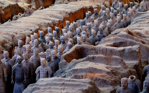 View from above of the terracotta warriors in Xi'an, China