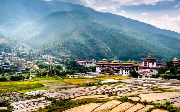 View across valley of Thimphu, Bhutan