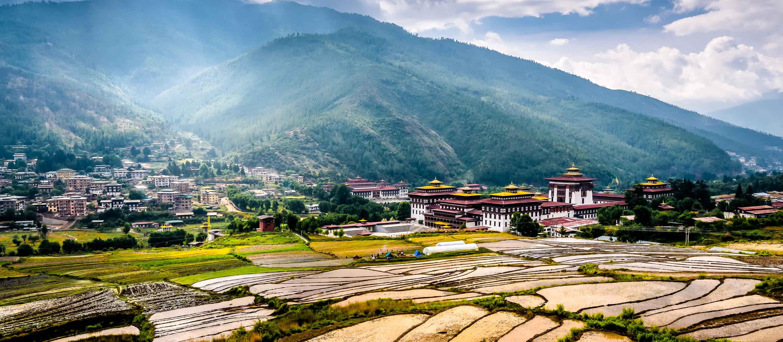 View across valley of Thimphu, Bhutan