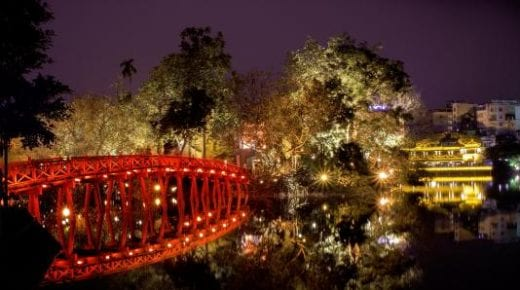 Hoan Kiem (Sword) Lake is charming at night