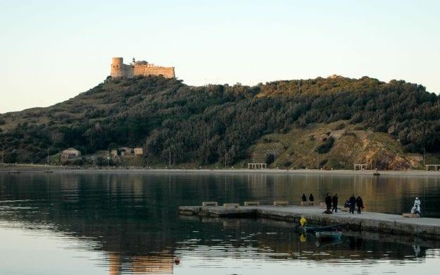 Castle sits on hill above Tunisia shore