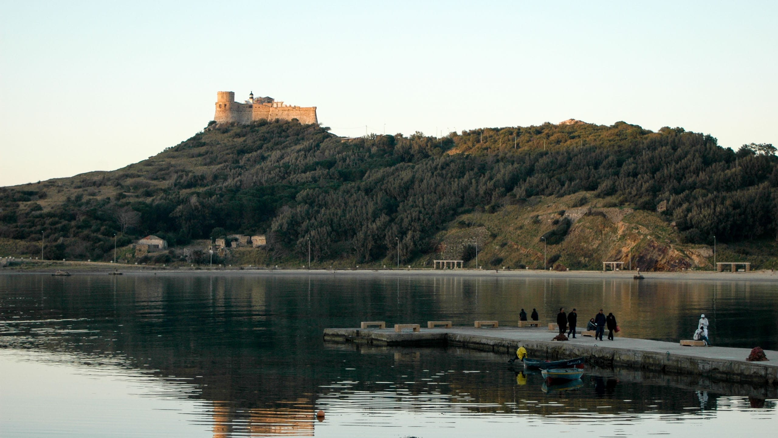 Castle sits on hill above Tunisia shore