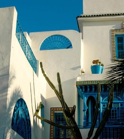 Blue and white exterior of Tunisia home