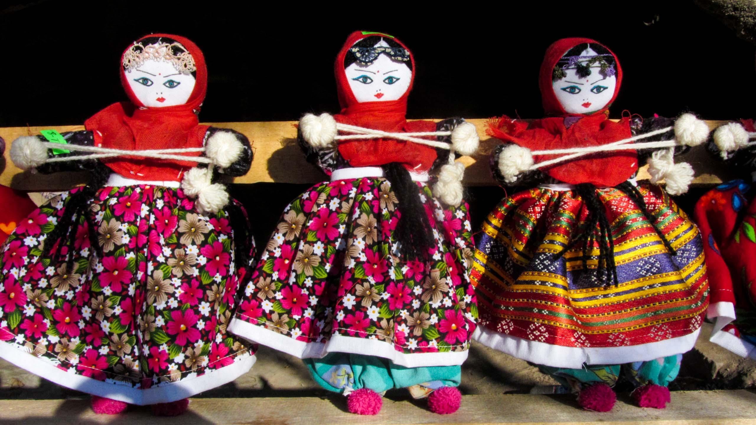 Fabric dolls in a row in Turkey market
