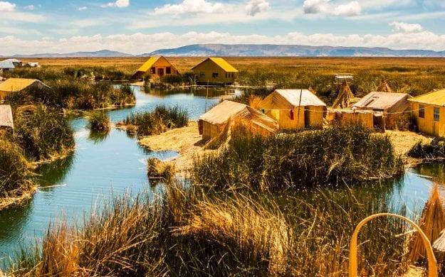 Island of Uros on Lake Titicaca