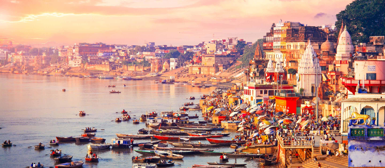 Sunset over the coast of Varanasi, India