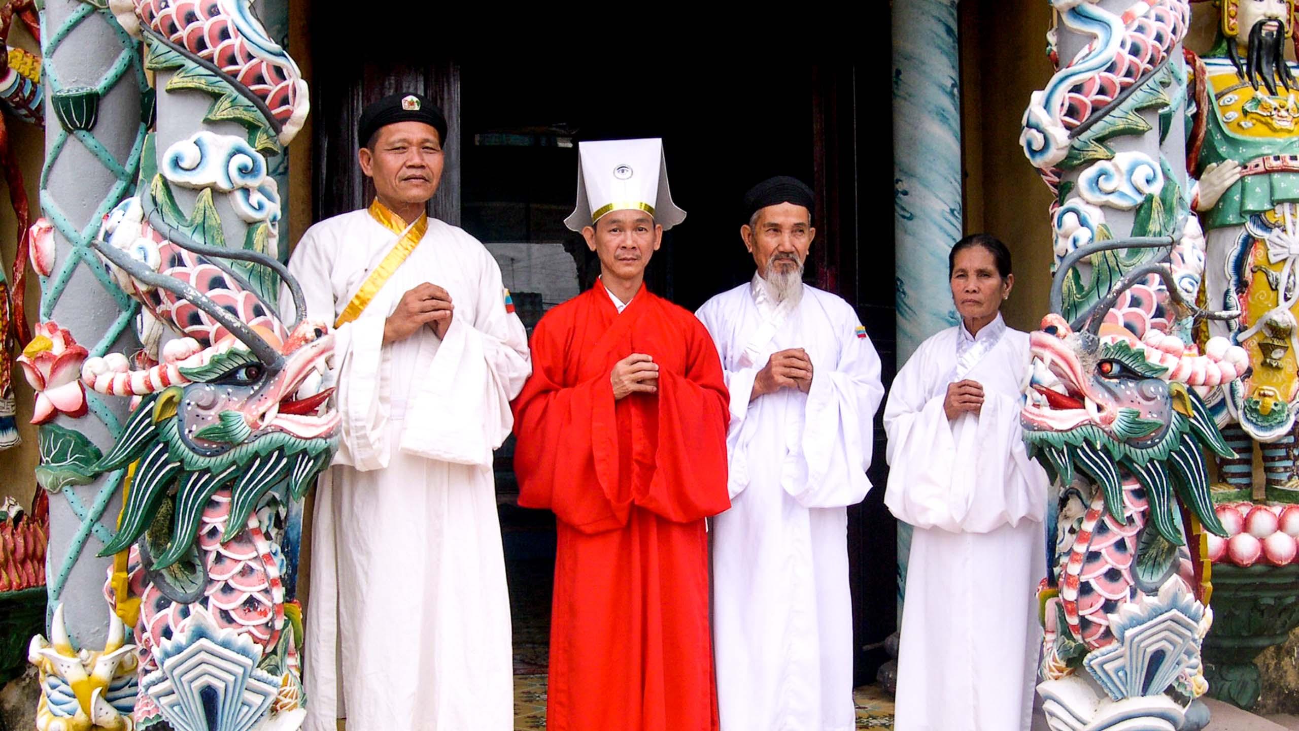 Group of Vietnam men wearing robes
