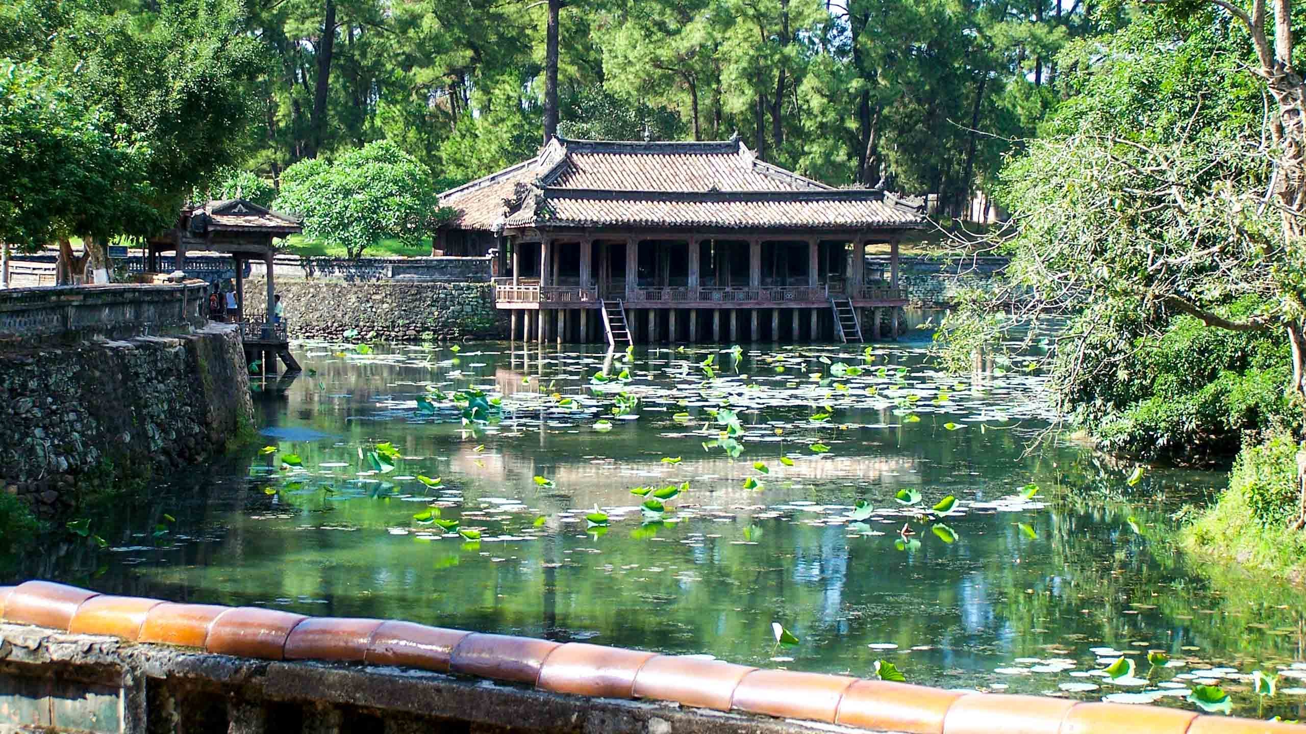 Vietnam pond and small building