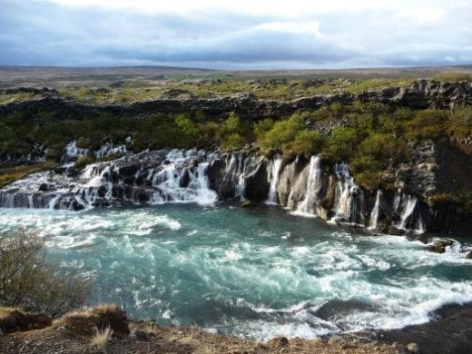 Wide and wonderful falls at Hraunfossar