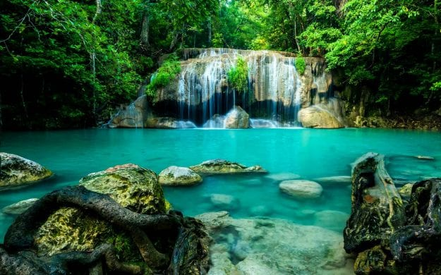 Waterfall in Erawan National Park, Thailand