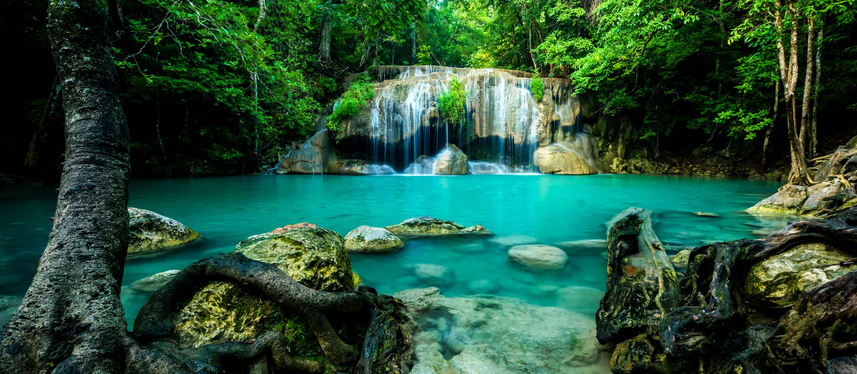 Waterfall in Erawan National Park, Thailand
