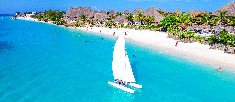 Sailboat in front of Zanzibar beach