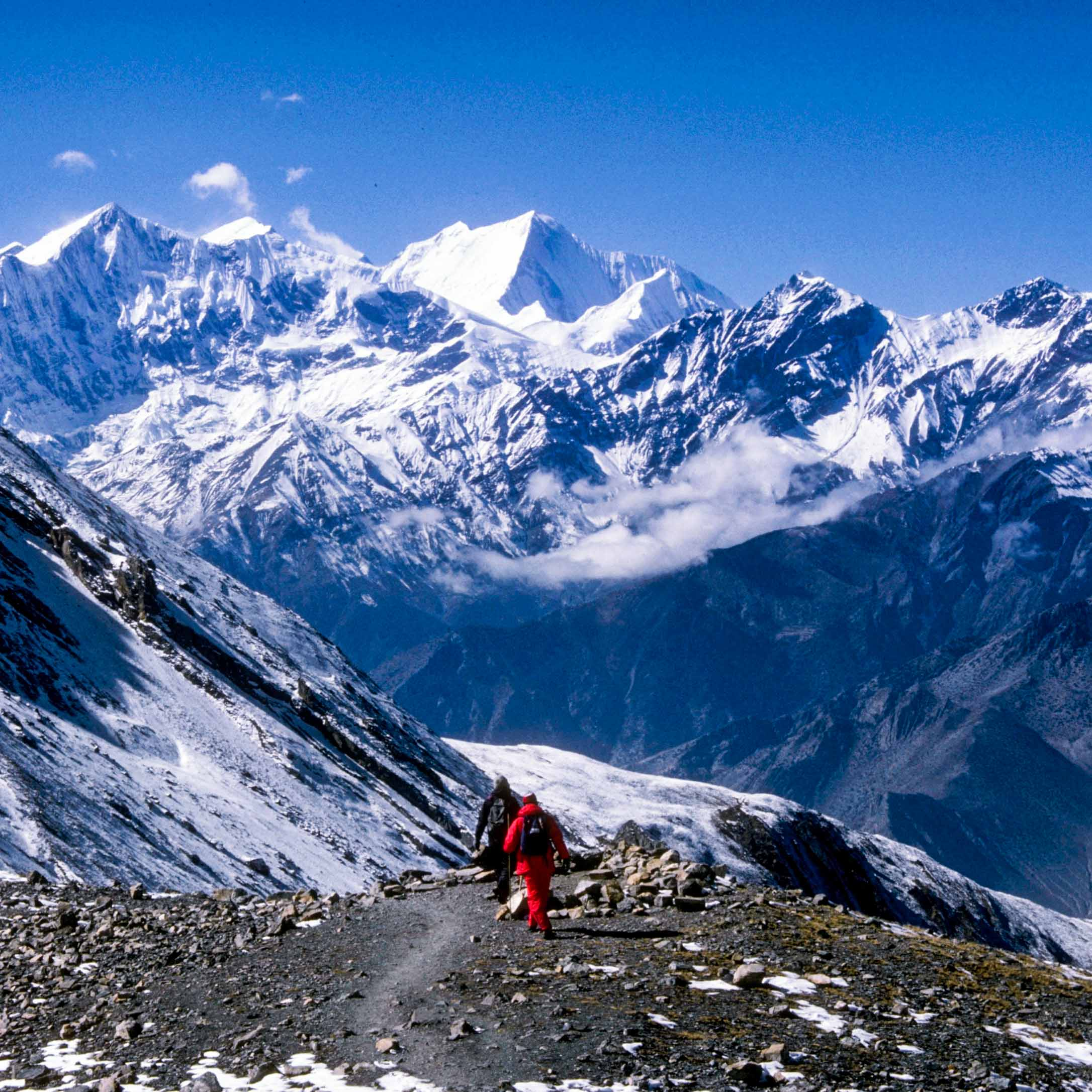 Two travelers hike toward Everest in Nepal