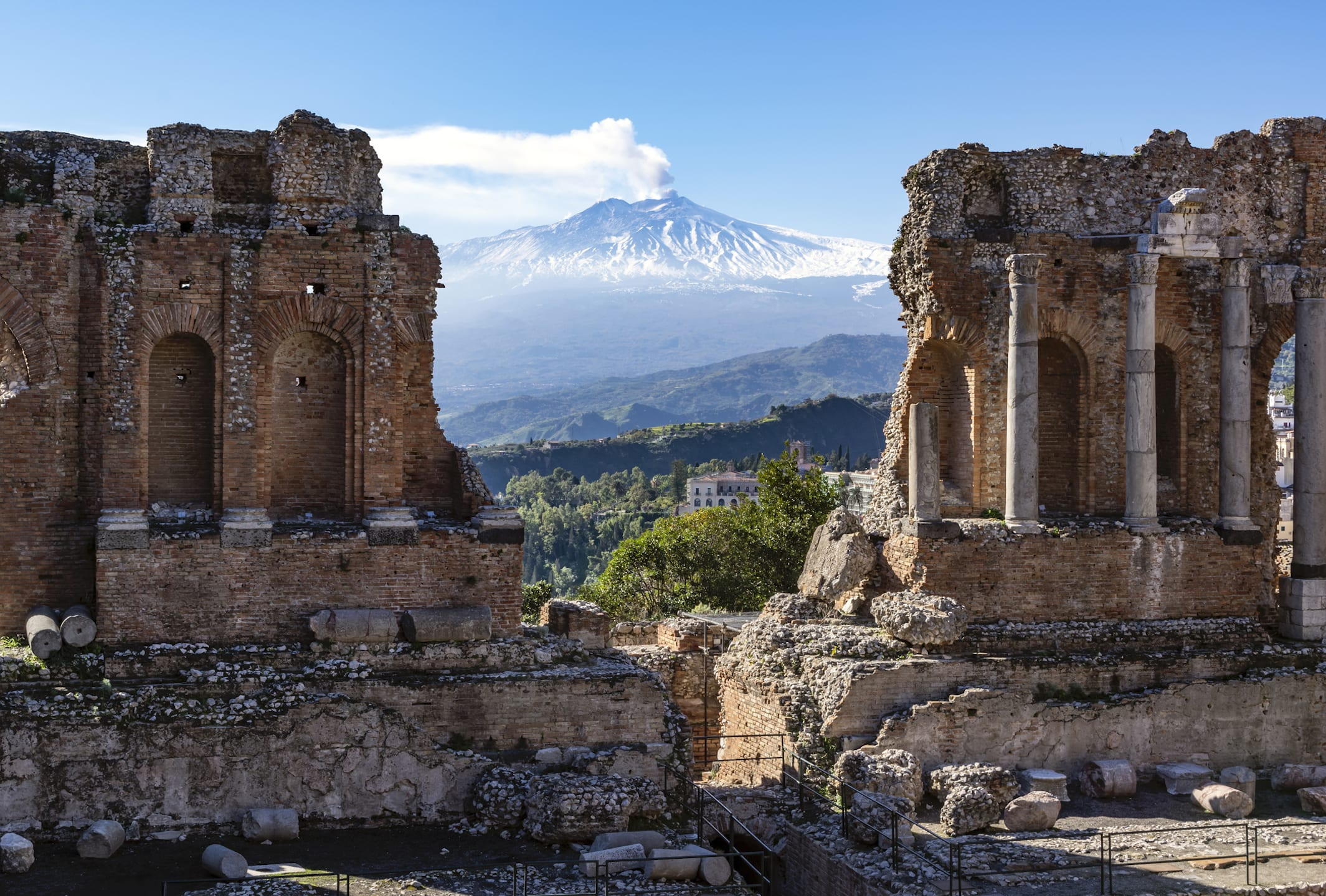 mt etna viewed though ruins