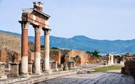 ruined columns at Pompeii
