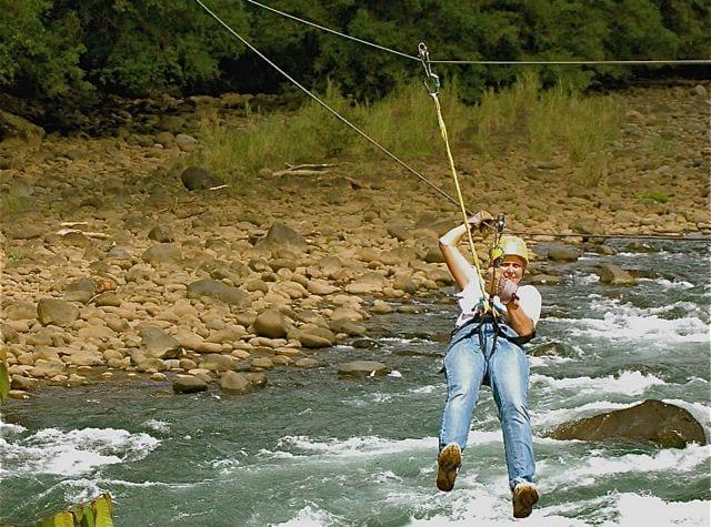 A person ziplining