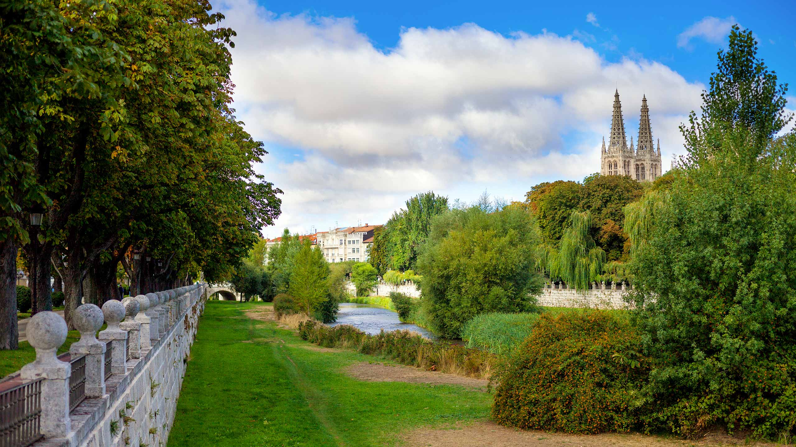Cathedral in Burgos, Spain, river Arlanzon on foreground