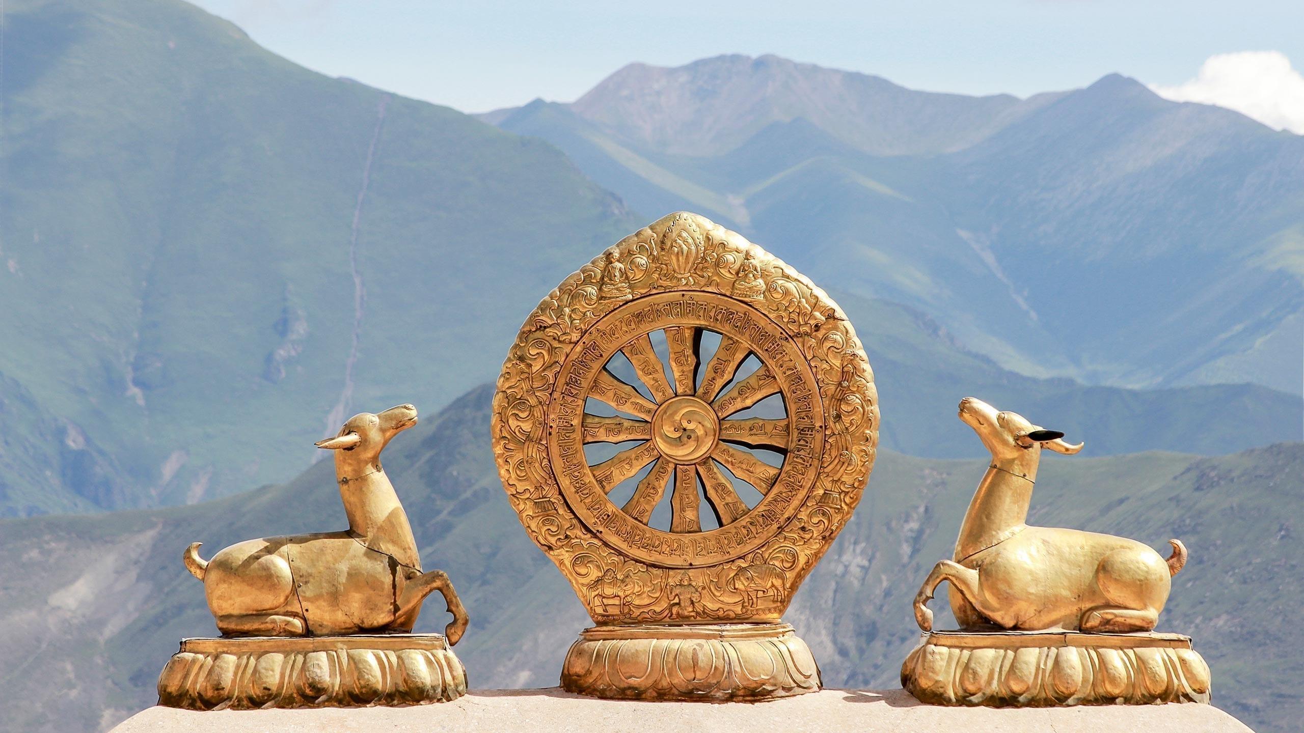 Dharma Wheel at the roof of Jokhang, Lhasa, Tibet