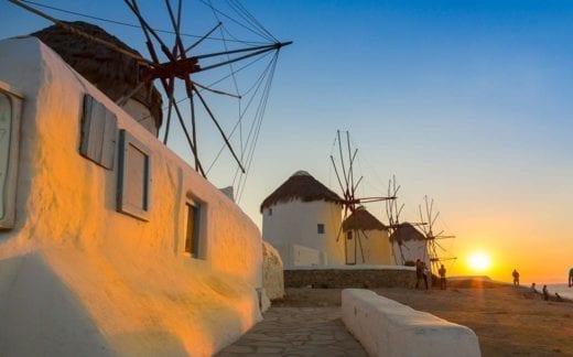 Mykonos windmills at sunset, Greece