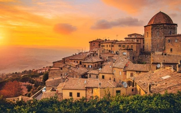 Volterra, walled town southwest of Florence, in Italy.