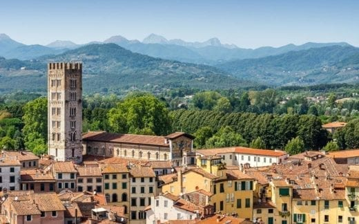 Aerial view of Lucca with San Frediano Basilica, Tuscany. Italy